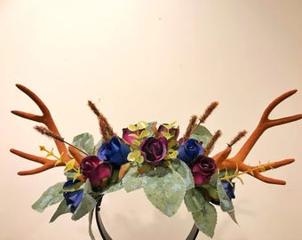 Brown Antlers Horn Daisy Flowers Rose Nymph Forest Horn Headdress Antlers Blue Purple Green Vintage