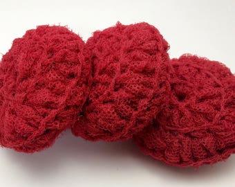 Pot Scrubbers / Nylon Scrubbies / Dish Scrubber / Crochet Pot Scrubbie / Scouring Pads / Kitchen Scrubby / Dish Scrubbers / Red Scrubby