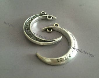 wholesale 50 Pieces /Lot Antique Silver Plated 21mmx29mm To The Moon and Back charms(# 0113)
