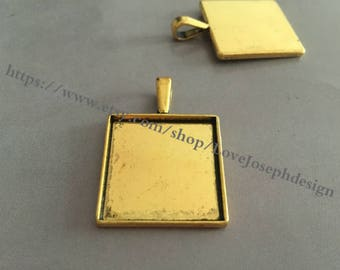 20 Pieces /Lot Antique Gold Plated 25mm square cabochon bezel trays charms (#0317)