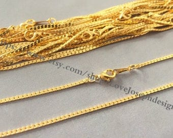 12pieces 1.5mm gold 16inch flat cable necklace chains with 10mm lobster clasps(#0510)