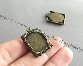 wholesale 100 Pieces /Lot Antique Bronze Plated 13.5mmx17mm rectangle cabochon bezel trays charms(#0542)