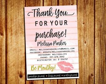 LipSense Thank You Card - SeneGence Thank You Card - Personalized - YOU PRINT - 4x6 and 5x7