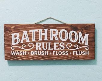 Wooden Bathroom Sign