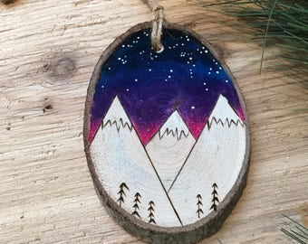 galaxy Wood Slice Ornament
