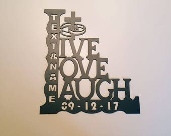 Bedroom Decor - Live Love Laugh Decal - Live Laugh Love Decal - Bedroom Wall Decor-Inspirational Quote - Metal Wall Decal - Live Laugh Love
