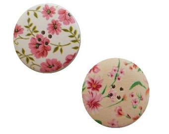 2 round buttons, sewing, scrapbooking, 4 cm flower I