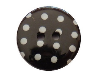 6 buttons round dot 1.8 cm black