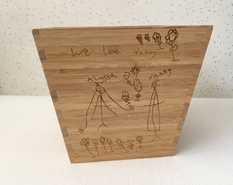 childrens drawing plant pot, personalised plant pot, present for mum, mum gifts, gifts for mum, gift for nanny, Grandparent gift
