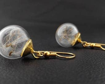 real dandelion wish gold plated 925 Silver earrings (0066/925/W)