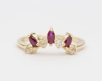 Marquise Ruby Moonstone 14K Gold Wedding Band Curve Crown Ring AD1299