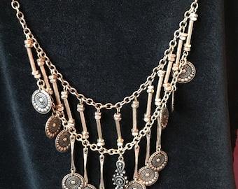 Heavily gold plated vintage bib necklace