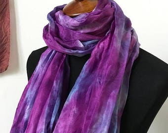 Prophetic - Silk Scarf - Gifts for Women - Dyed Silk - Christian Gifts - Crinkle Silk called Hearing Heart