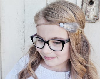 Feather with Periwinkle Suede on Nylon Headband • Nylon Headband • baby headband • feather headband • girl headband • suede • feathers