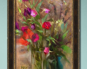 Wild Flowers in a Vase, Original Oil Painting, One of a kind