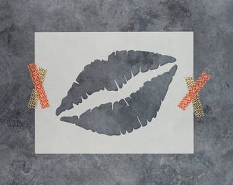 Lips Stencil - Reusable DIY Craft Stencils of Lipstick Lips