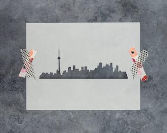Toronto Skyline Stencil - Reusable DIY Craft Stencils of the Toronto Skyline