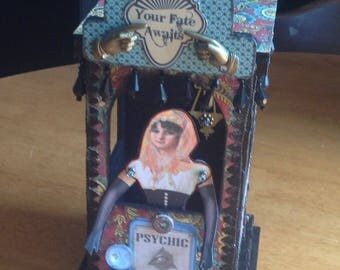 Fortune Teller  Booth Altered Art Mixed Media Assemblage