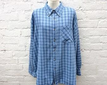 Men's blue flannel shirt, oversized grunge top, 90's fashion
