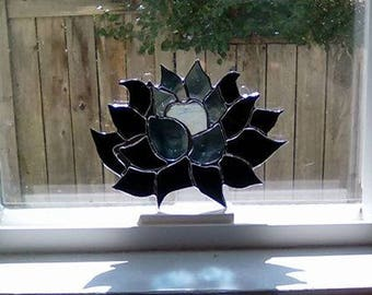 Black Lotus   Hand-Crafted Stained Glass Flower