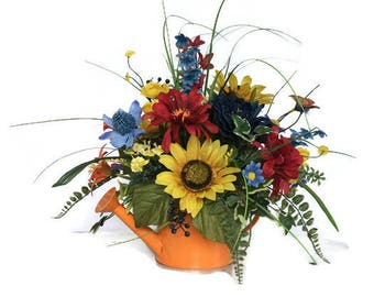 Sunflower Floral Arrangement, Sunflower Centerpiece, Sunflower Arrangement for Table, Sunflower Watering Can Arrangement, MeriMesh Designs