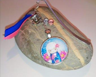 Bookmark Kokeshi Princess pink and blue