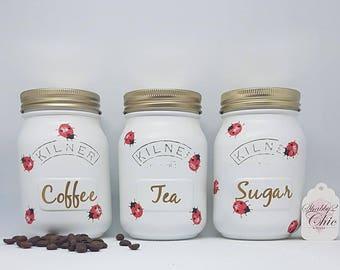 Ladybird Set of 3 White Hand Crafted Tea Coffee Sugar Kitchen Canister Kilner Jars/Ladybug/Housewarming/Wedding /Engagement Gift