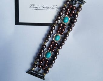 Apple Watch Band 38mm, Apple Watch Band 42mm, Beaded Chocolate and Turquoise Sliders watch band