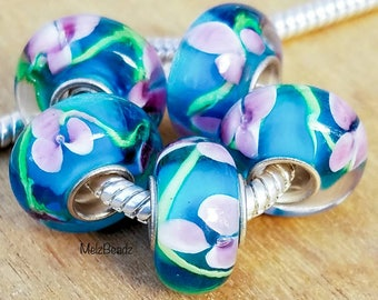 European beads glass, large hole beads, lampwork glass beads, large glass bead, pandora style beads, murano glass bead, European style beads