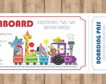 Animal Train Birthday Invitation
