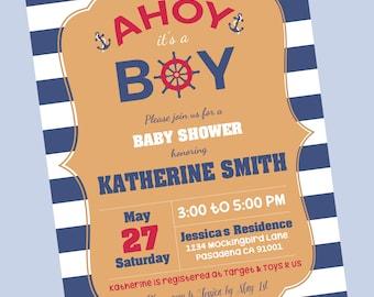 Nautical Baby Shower Invitation (Plus free cliparts)