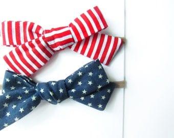 July 4th Baby Headband, Stripes & Stars Set