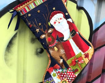 DIY Christmas Stocking - Santa and Rudolph