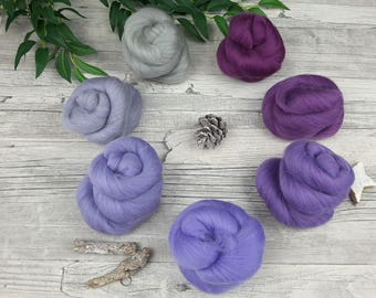"Spinning clouds set (mini-Batts) with gradient - ""Purple mood"" - Merino - 105 g"