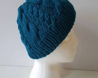 Teal Cable Knit Beanie