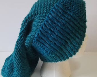 Teal Long Slouchy Hat