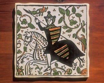 Medieval horseman Hand painted decorative tile Socarrat style
