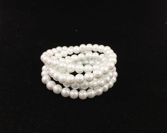 6mm/32inch/145pc True White Glass Pearl Strand