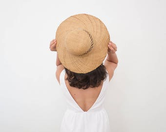 vintage woven straw hat with cutouts