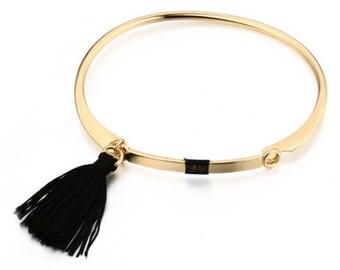 Gold & Black tassel Bangle Bracelet
