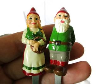 Set of 2 Christmas Forks SAGAFORM With Gnome Girl and Boy Dwarf Elf Tomte Vintage Scandinavian Design Kitchen Utensils Mini Forks