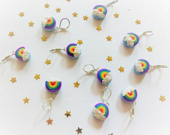 Beautiful Rainbow in the clouds stitch markers, progress keepers or charms