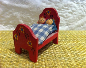 Vintage miniature bed crafted, painted, peasant art