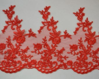 Red Embroidery Lace Trim 10.23 Inches Wide 1.09 Yards/ Craft   Supplies, WL778