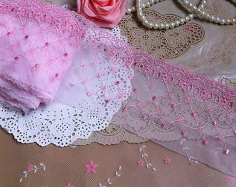 Vintage Pink Embroidery Lace Trim 4.33 Inches Wide 1 Yard/ Craft   Supplies, WL1753