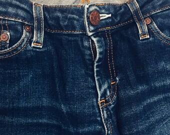 ACNE jeans, 27/34, dark wash, upcycled raw hem