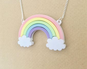Rainbow Clouds Acrylic Necklace In Pastel