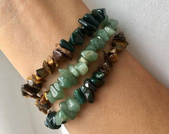 Tiger's Eye, Bloodstone, and Green Aventurine Bracelet Trio
