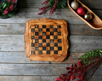 chess set, chess board, wooden chess board, checker board, olive wood, christmas gift, gift for him, cottage gift, gift