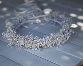 White Dried baby breath crown, flower girl floral wreath